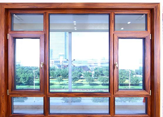 Cửa sổ mở quay nhôm ốp gỗ